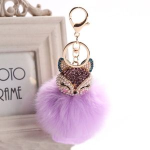 Rhinestone Fox Furry Pom Pom Pearl Keychain Purse